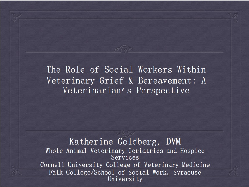 The Role of Social Workers Within Veterinary Grief and Bereavement