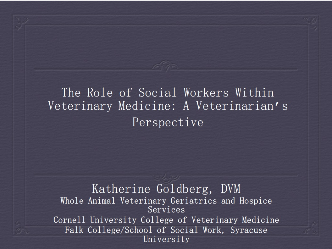 The Roles of Social Workers Within Veterinary Medicine