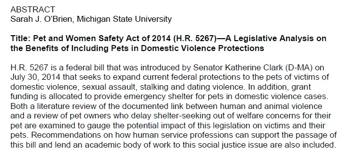 S O'Brien Pet and Women Safety Act